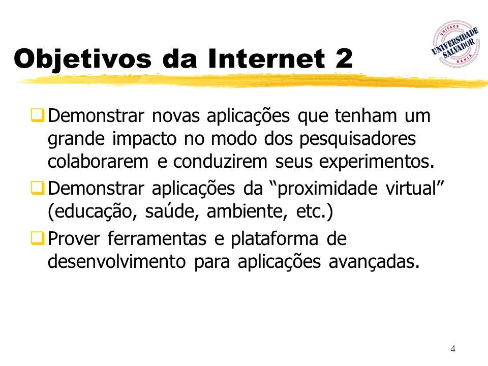 75 Ambiente Diffserv na UNIFACS (1) Etapas: oImplantação de infra-estrutura de roteadores (PC Linux-based) e plataforma de coleta de dados (em fase de levantamento e implementação) oImplantação do serviço DiffServ em roteadores com código aberto (operacional) oProposta de configuração (Ad Hoc) para Agregação de Serviços Multimídia (em geral) e Aplicações de Telemedicina e VoIP (integrado com projeto Infra- Vida/ CNPq - vídeo) em particular