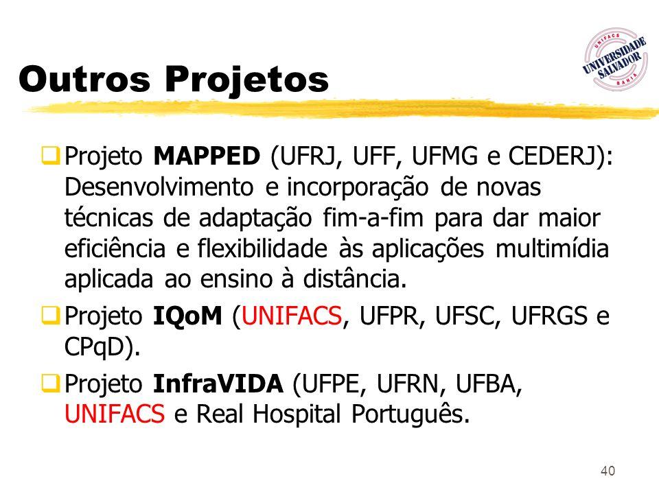 40 Outros Projetos Projeto MAPPED (UFRJ, UFF, UFMG e CEDERJ): Desenvolvimento e incorporação de novas técnicas de adaptação fim-a-fim para dar maior e