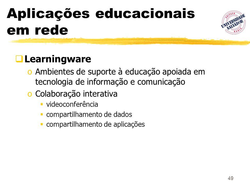 49 Aplicações educacionais em rede Learningware oAmbientes de suporte à educação apoiada em tecnologia de informação e comunicação oColaboração intera