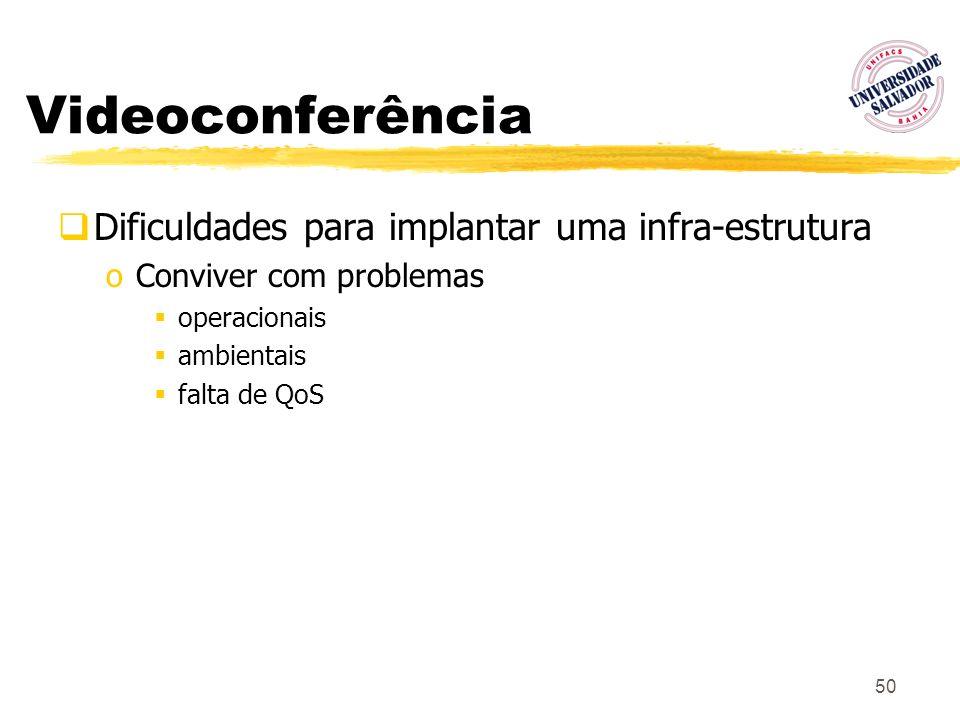 50 Videoconferência Dificuldades para implantar uma infra-estrutura oConviver com problemas operacionais ambientais falta de QoS