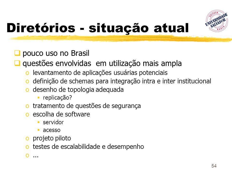 54 Diretórios - situação atual pouco uso no Brasil questões envolvidas em utilização mais ampla olevantamento de aplicações usuárias potenciais odefin