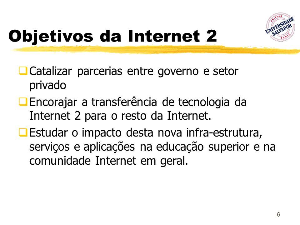 6 Objetivos da Internet 2 Catalizar parcerias entre governo e setor privado Encorajar a transferência de tecnologia da Internet 2 para o resto da Inte