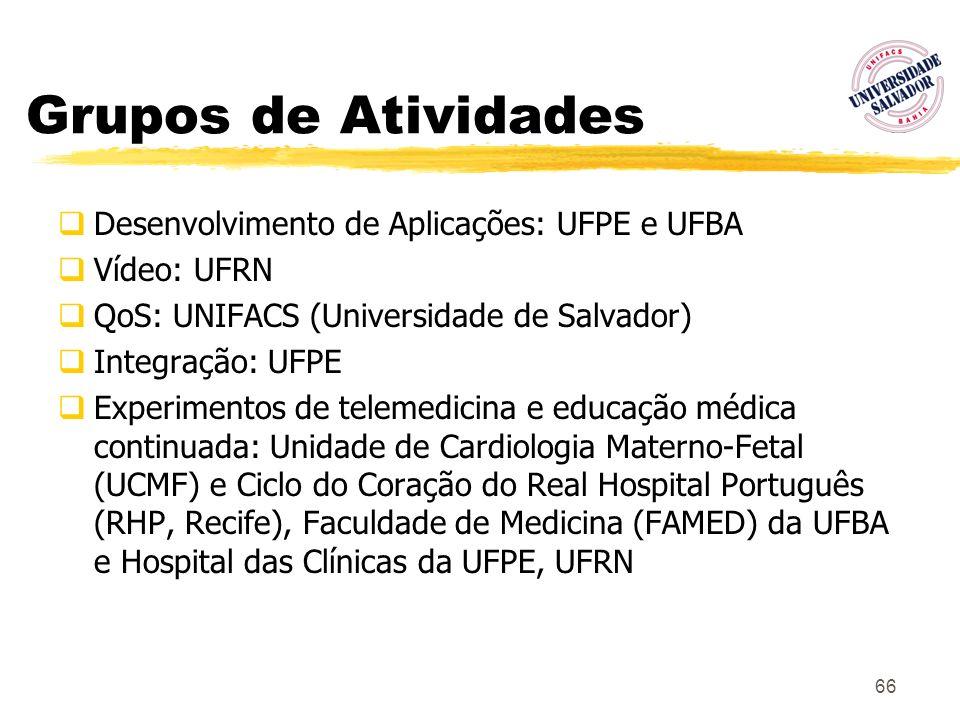 66 Grupos de Atividades Desenvolvimento de Aplicações: UFPE e UFBA Vídeo: UFRN QoS: UNIFACS (Universidade de Salvador) Integração: UFPE Experimentos d