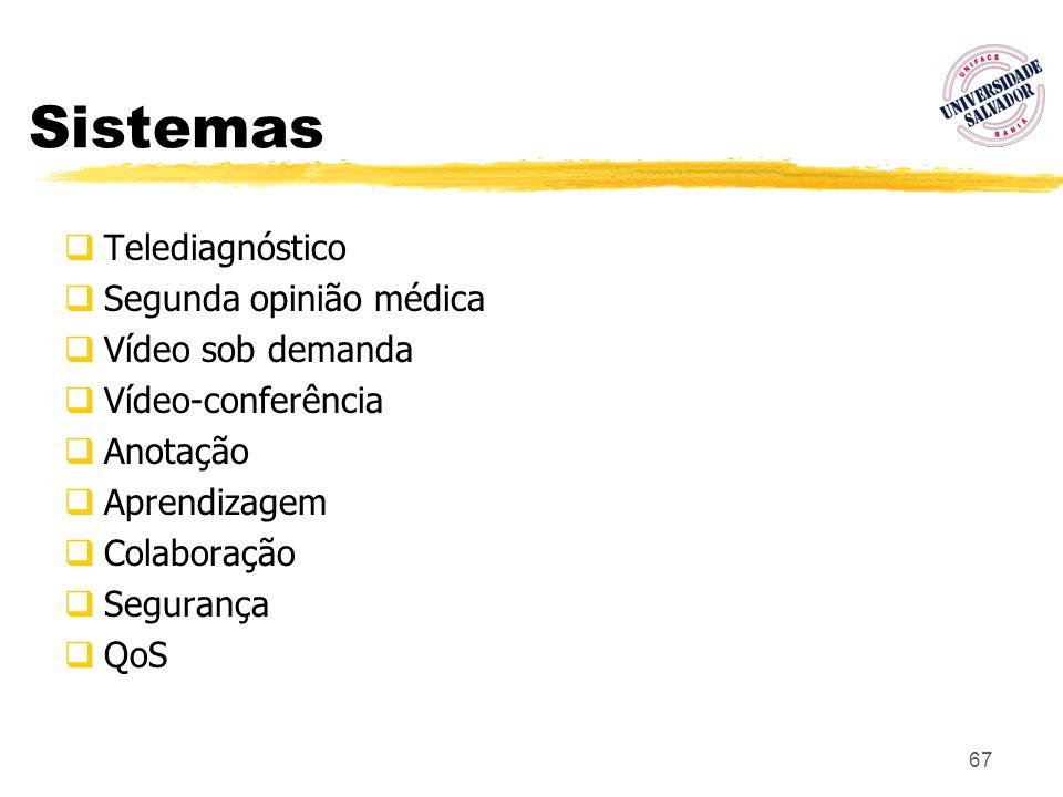 67 Sistemas Telediagnóstico Segunda opinião médica Vídeo sob demanda Vídeo-conferência Anotação Aprendizagem Colaboração Segurança QoS