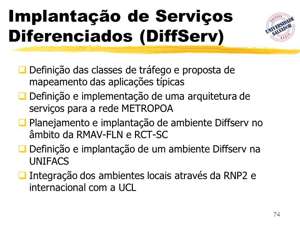 74 Implantação de Serviços Diferenciados (DiffServ) Definição das classes de tráfego e proposta de mapeamento das aplicações típicas Definição e imple