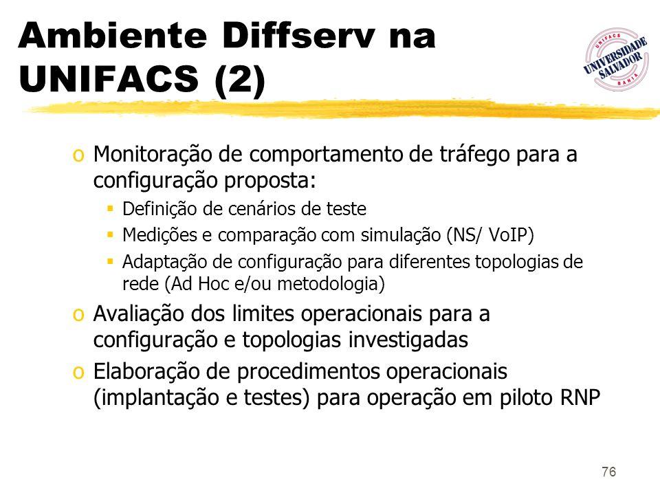 76 Ambiente Diffserv na UNIFACS (2) oMonitoração de comportamento de tráfego para a configuração proposta: Definição de cenários de teste Medições e c
