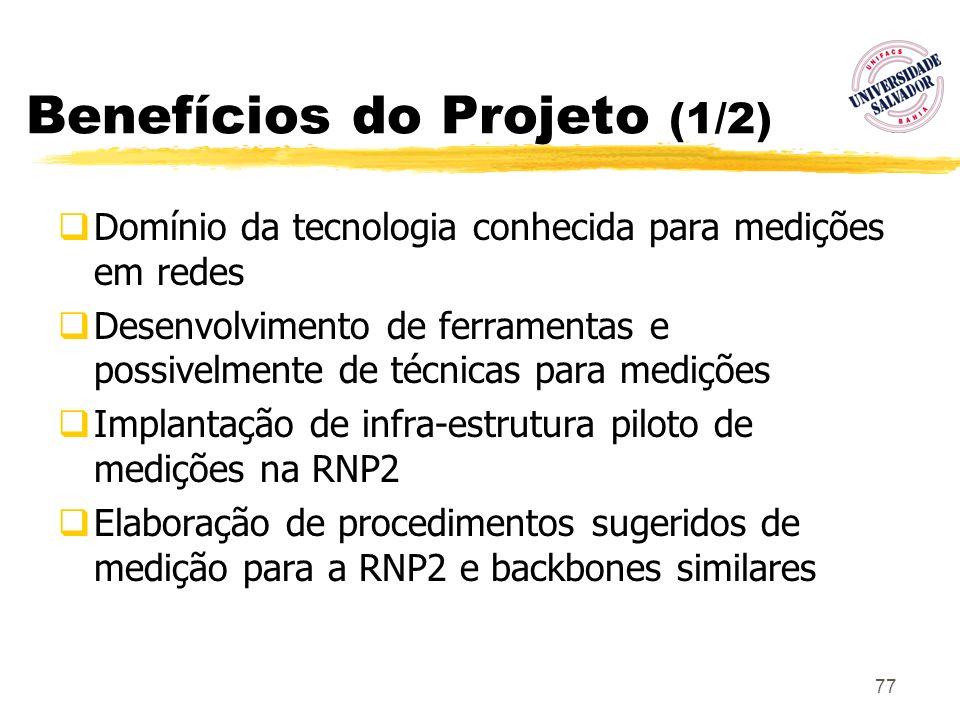 77 Benefícios do Projeto (1/2) Domínio da tecnologia conhecida para medições em redes Desenvolvimento de ferramentas e possivelmente de técnicas para
