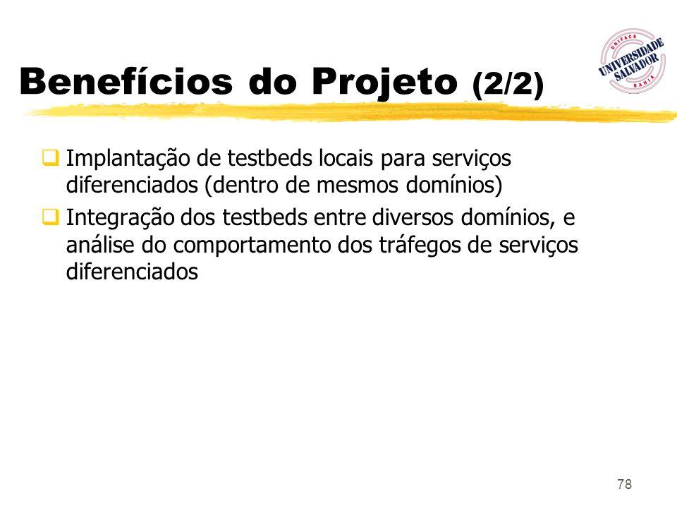 78 Benefícios do Projeto (2/2) Implantação de testbeds locais para serviços diferenciados (dentro de mesmos domínios) Integração dos testbeds entre di