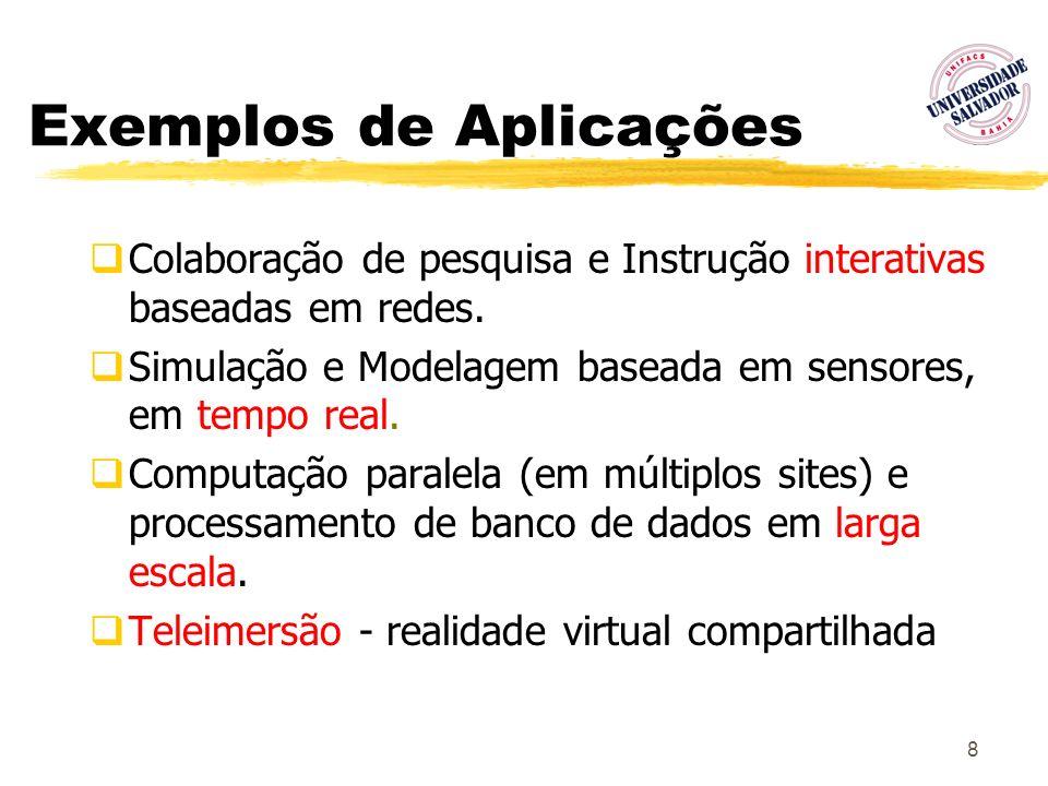 8 Exemplos de Aplicações Colaboração de pesquisa e Instrução interativas baseadas em redes. Simulação e Modelagem baseada em sensores, em tempo real.