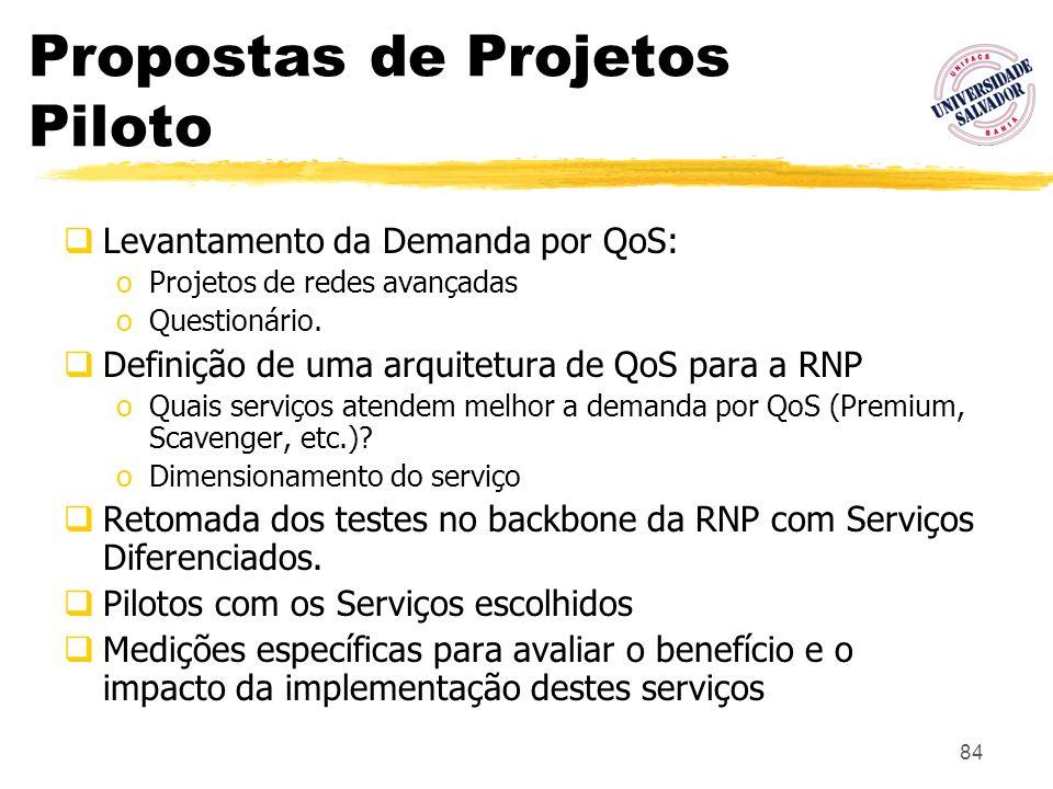 84 Propostas de Projetos Piloto Levantamento da Demanda por QoS: oProjetos de redes avançadas oQuestionário. Definição de uma arquitetura de QoS para