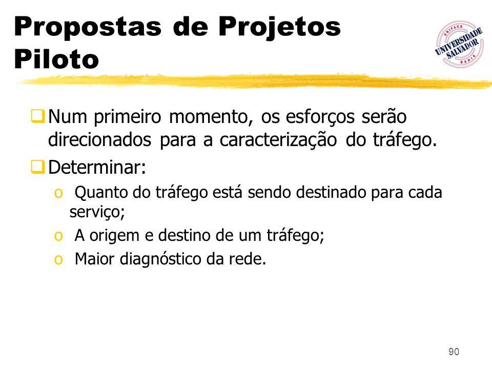 90 Propostas de Projetos Piloto Num primeiro momento, os esforços serão direcionados para a caracterização do tráfego. Determinar: o Quanto do tráfego