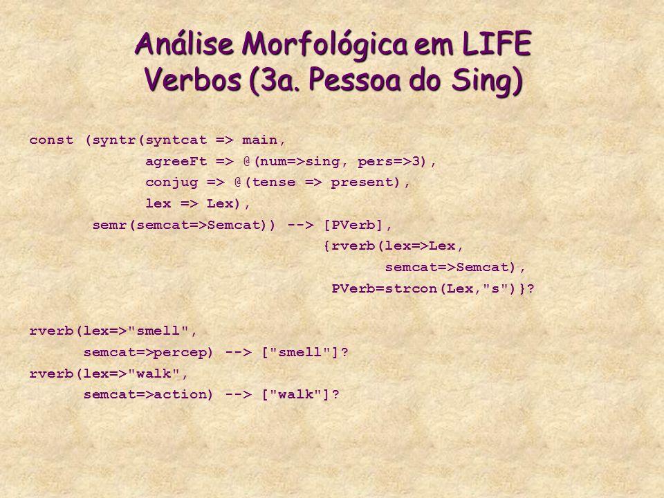 Análise Morfológica em LIFE Verbos (3a.