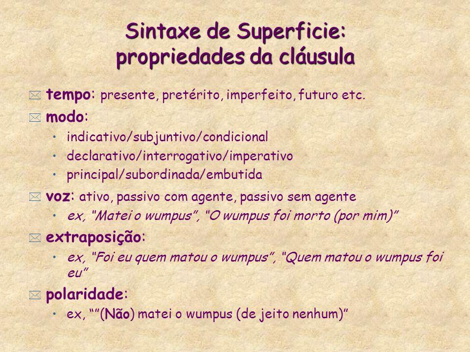 Sintaxe de Superficie: propriedades da cláusula * tempo: presente, pretérito, imperfeito, futuro etc.