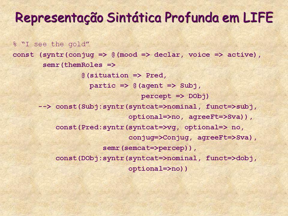 Representação Sintática Profunda em LIFE % I see the gold const (syntr(conjug => @(mood => declar, voice => active), semr(themRoles => @(situation => Pred, partic => @(agent => Subj, percept => DObj) --> const(Subj:syntr(syntcat=>nominal, funct=>subj, optional=>no, agreeFt=>Sva)), const(Pred:syntr(syntcat=>vg, optional=> no, conjug=>Conjug, agreeFt=>Sva), semr(semcat=>percep)), const(DObj:syntr(syntcat=>nominal, funct=>dobj, optional=>no))