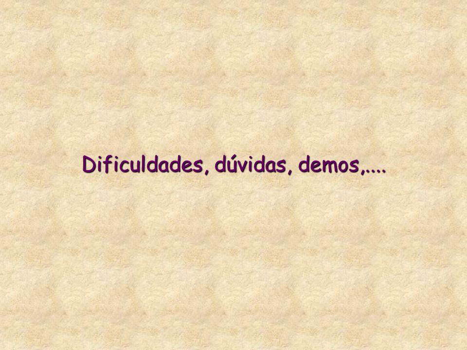 Dificuldades, dúvidas, demos,....
