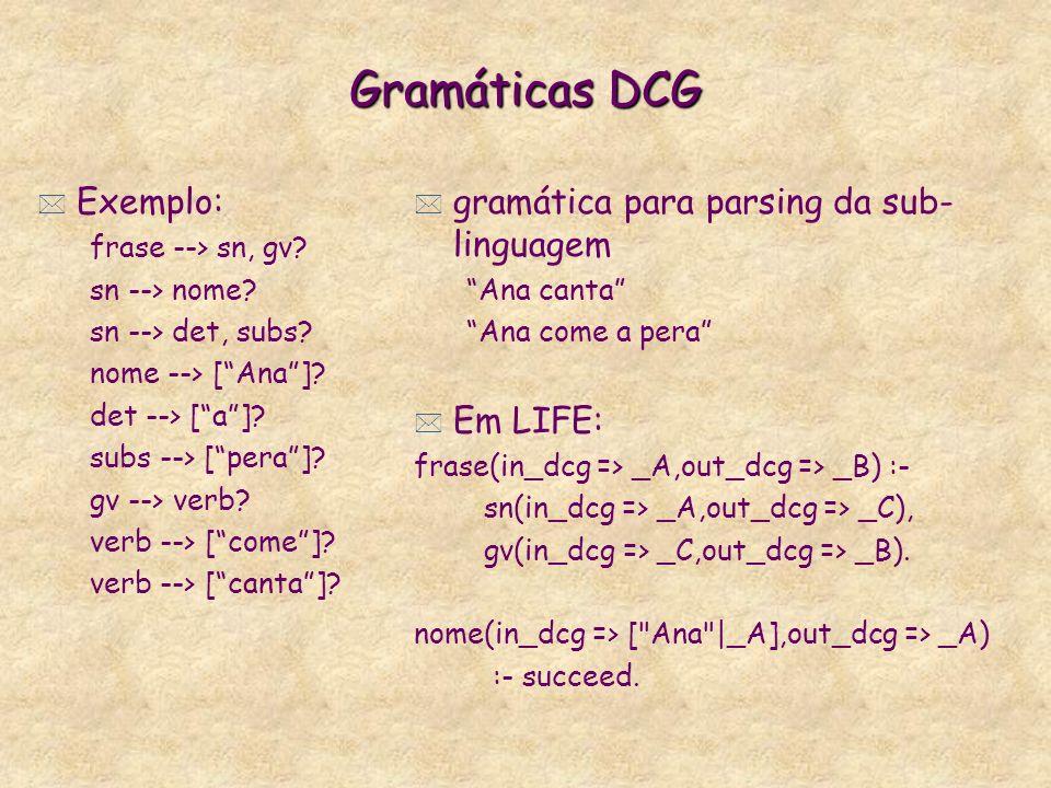 Gramáticas DCG * Exemplo: frase --> sn, gv.sn --> nome.