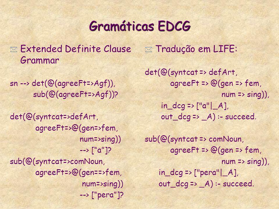 Gramáticas EDCG * Extended Definite Clause Grammar sn --> det(@(agreeFt=>Agf)), sub(@(agreeFt=>Agf)).