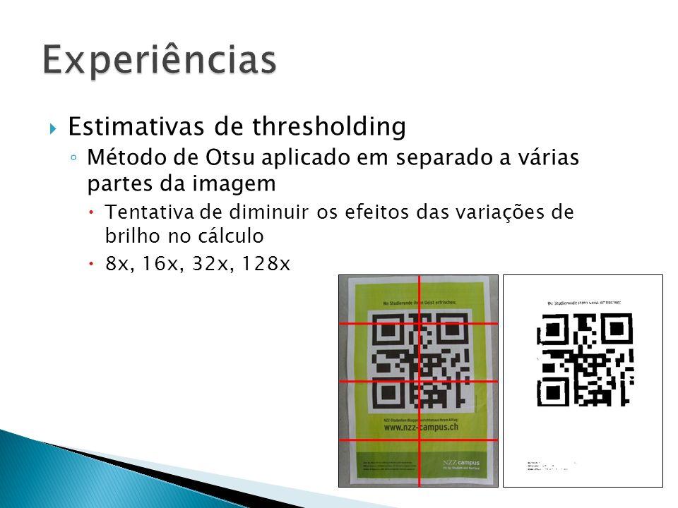 Estimativas de thresholding Método de Otsu aplicado em separado a várias partes da imagem Tentativa de diminuir os efeitos das variações de brilho no