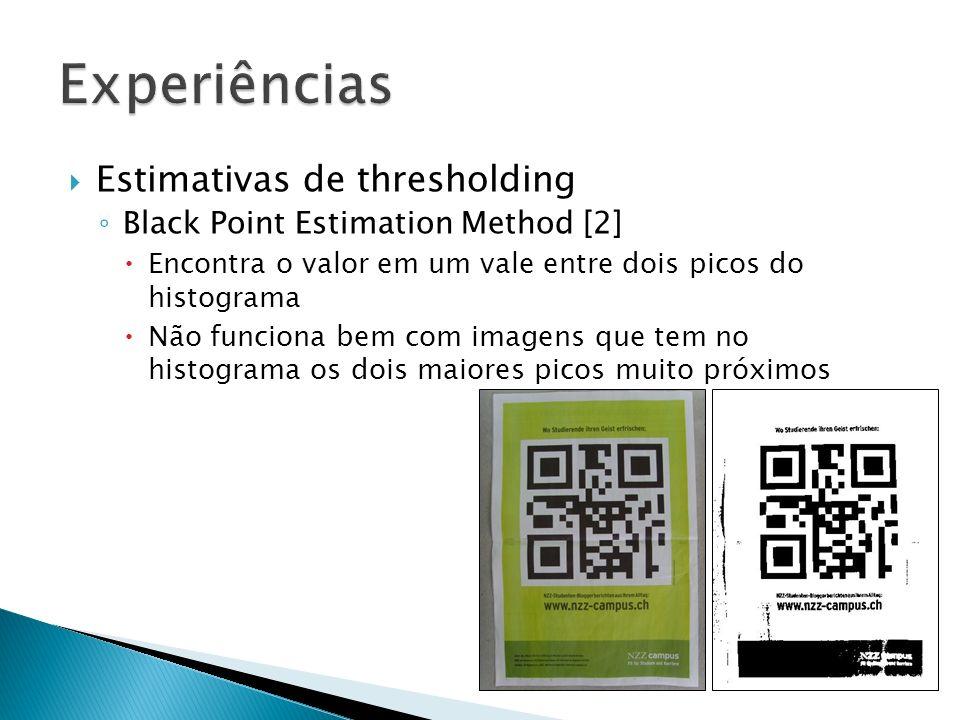 Estimativas de thresholding Black Point Estimation Method [2] Encontra o valor em um vale entre dois picos do histograma Não funciona bem com imagens