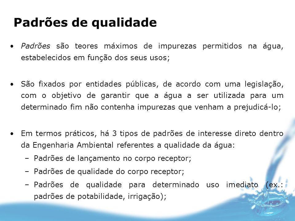 Padrões de qualidade Padrões são teores máximos de impurezas permitidos na água, estabelecidos em função dos seus usos; São fixados por entidades públ