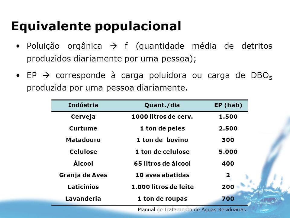 Equivalente populacional Poluição orgânica f (quantidade média de detritos produzidos diariamente por uma pessoa); EP corresponde à carga poluidora ou