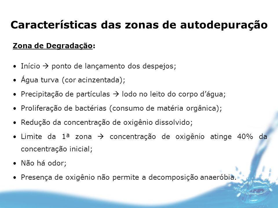 Características das zonas de autodepuração Zona de Degradação: Início ponto de lançamento dos despejos; Água turva (cor acinzentada); Precipitação de