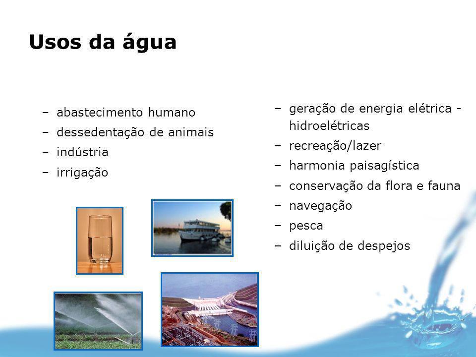Usos da água –abastecimento humano –dessedentação de animais –indústria –irrigação –geração de energia elétrica - hidroelétricas –recreação/lazer –har