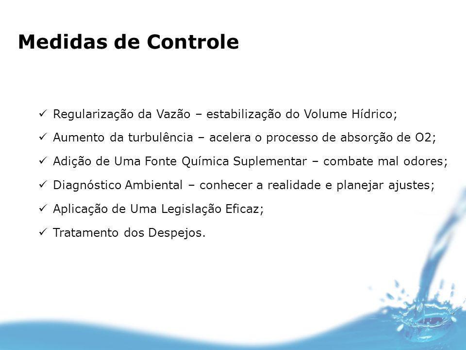 Medidas de Controle Regularização da Vazão – estabilização do Volume Hídrico; Aumento da turbulência – acelera o processo de absorção de O2; Adição de
