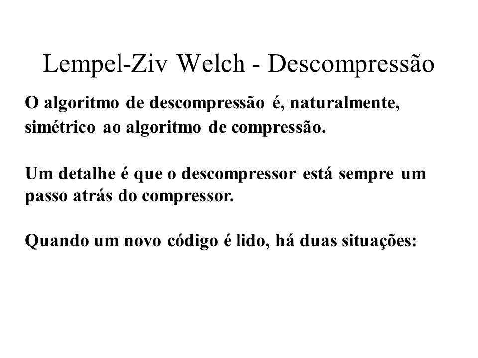 Lempel-Ziv Welch - Descompressão O algoritmo de descompressão é, naturalmente, simétrico ao algoritmo de compressão. Um detalhe é que o descompressor