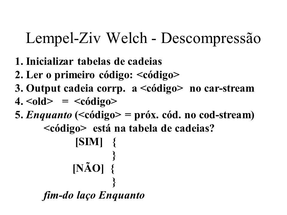 Lempel-Ziv Welch - Descompressão 1. Inicializar tabelas de cadeias 2. Ler o primeiro código: 3. Output cadeia corrp. a no car-stream 4. = 5. Enquanto