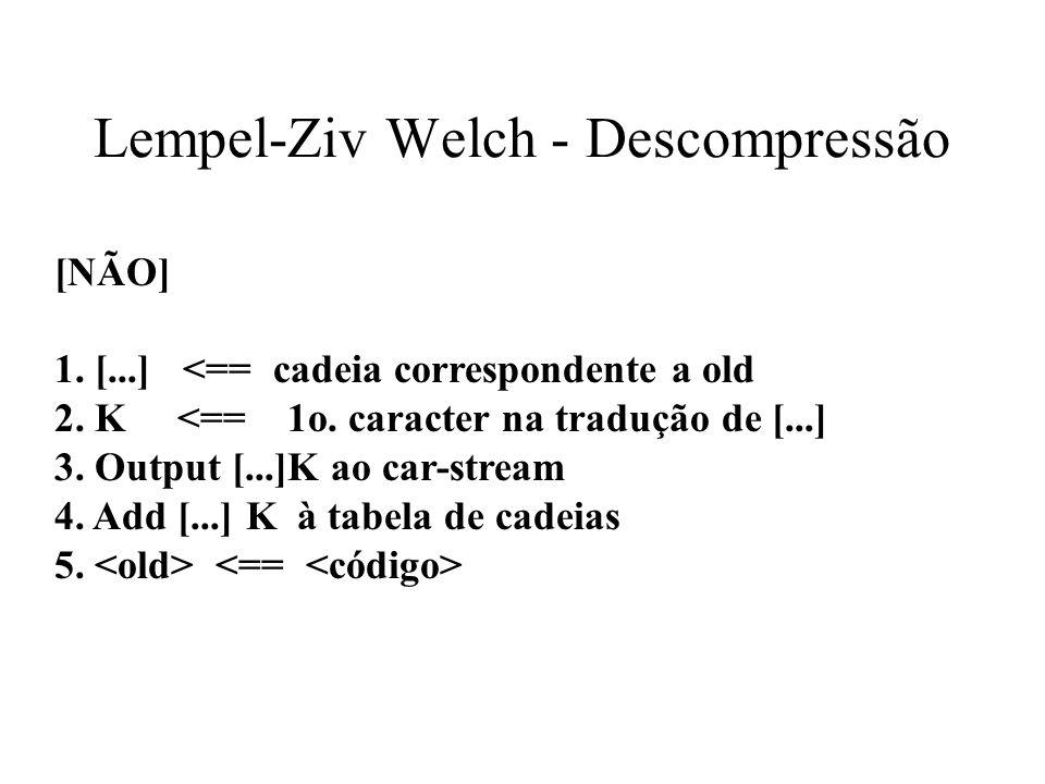 Lempel-Ziv Welch - Descompressão [NÃO] 1. [...] <== cadeia correspondente a old 2. K <== 1o. caracter na tradução de [...] 3. Output [...]K ao car-str