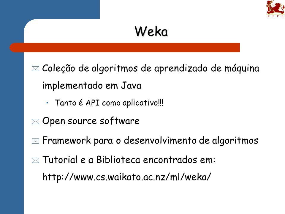 Weka * Coleção de algoritmos de aprendizado de máquina implementado em Java Tanto é API como aplicativo!!! * Open source software * Framework para o d