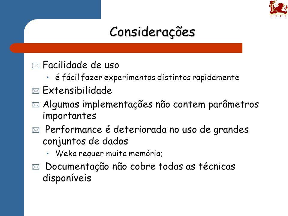 Considerações * Facilidade de uso é fácil fazer experimentos distintos rapidamente * Extensibilidade * Algumas implementações não contem parâmetros im