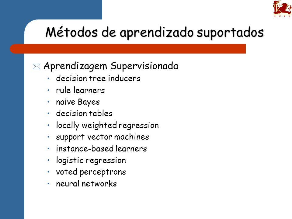 Métodos de aprendizado suportados * Aprendizagem Supervisionada decision tree inducers rule learners naive Bayes decision tables locally weighted regr
