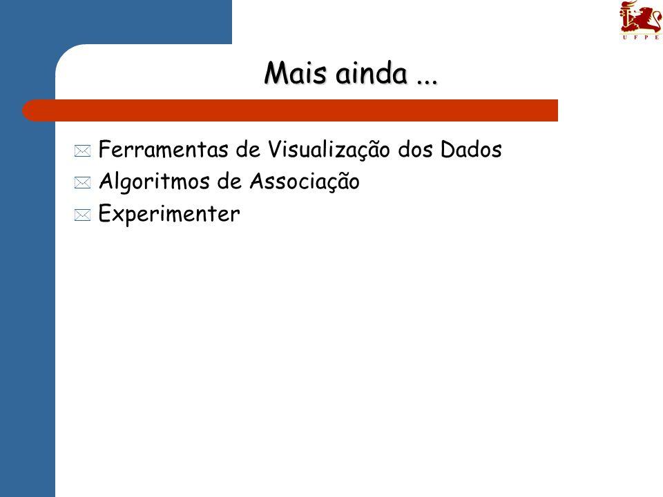 Mais ainda... * Ferramentas de Visualização dos Dados * Algoritmos de Associação * Experimenter