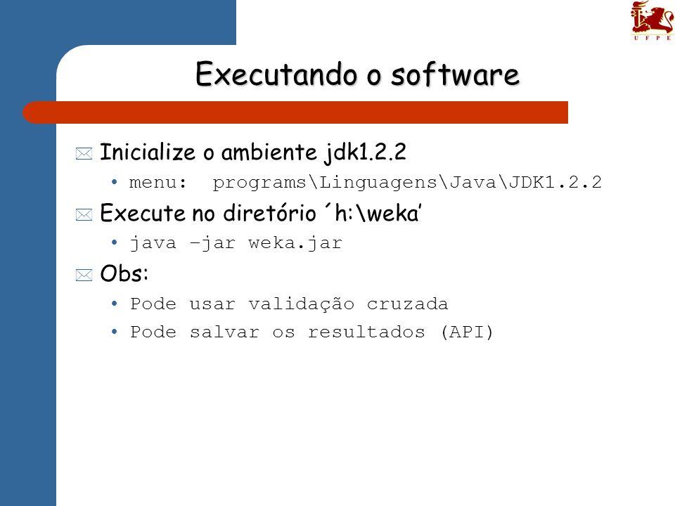Executando o software * Inicialize o ambiente jdk1.2.2 menu: programs\Linguagens\Java\JDK1.2.2 * Execute no diretório ´h:\weka java –jar weka.jar * Ob
