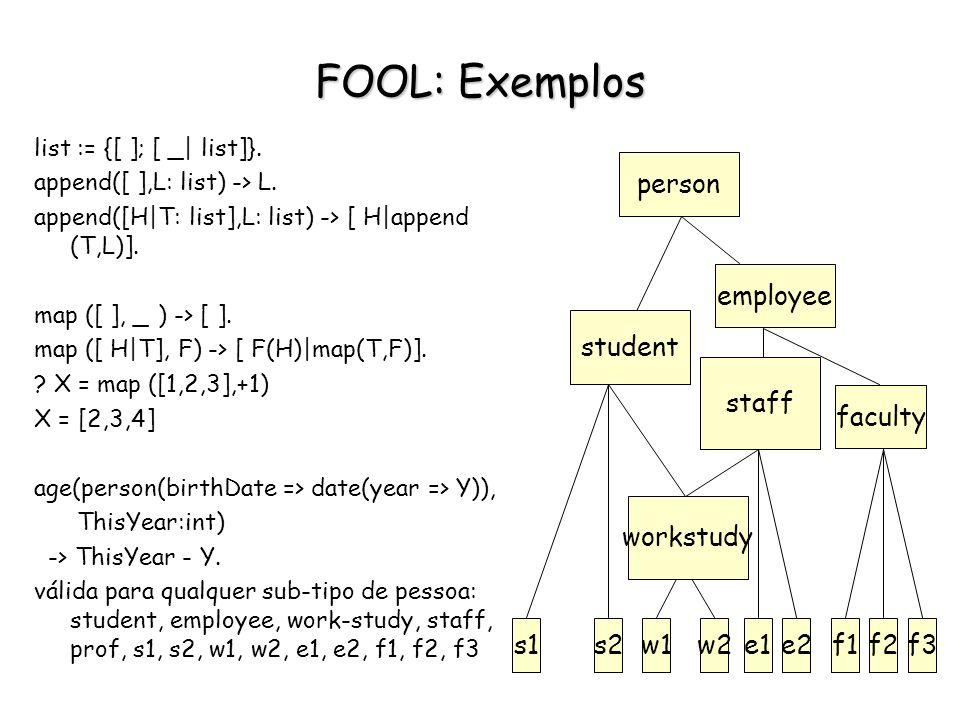 FOOL: Exemplos list := {[ ]; [ _| list]}. append([ ],L: list) -> L. append([H|T: list],L: list) -> [ H|append (T,L)]. map ([ ], _ ) -> [ ]. map ([ H|T