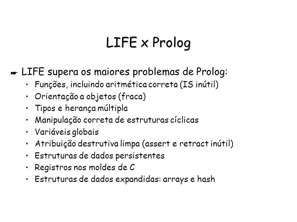 LIFE x Prolog * LIFE supera os maiores problemas de Prolog: Funções, incluindo aritmética correta (IS inútil) Orientação a objetos (fraca) Tipos e her