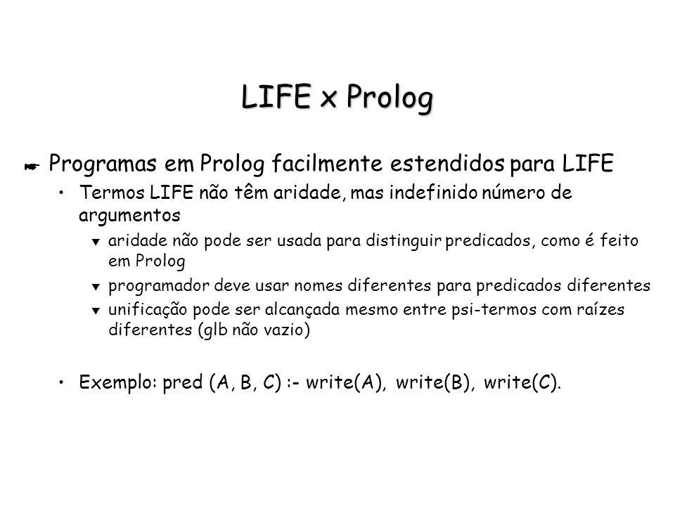 LIFE x Prolog * Programas em Prolog facilmente estendidos para LIFE Termos LIFE não têm aridade, mas indefinido número de argumentos t aridade não pod