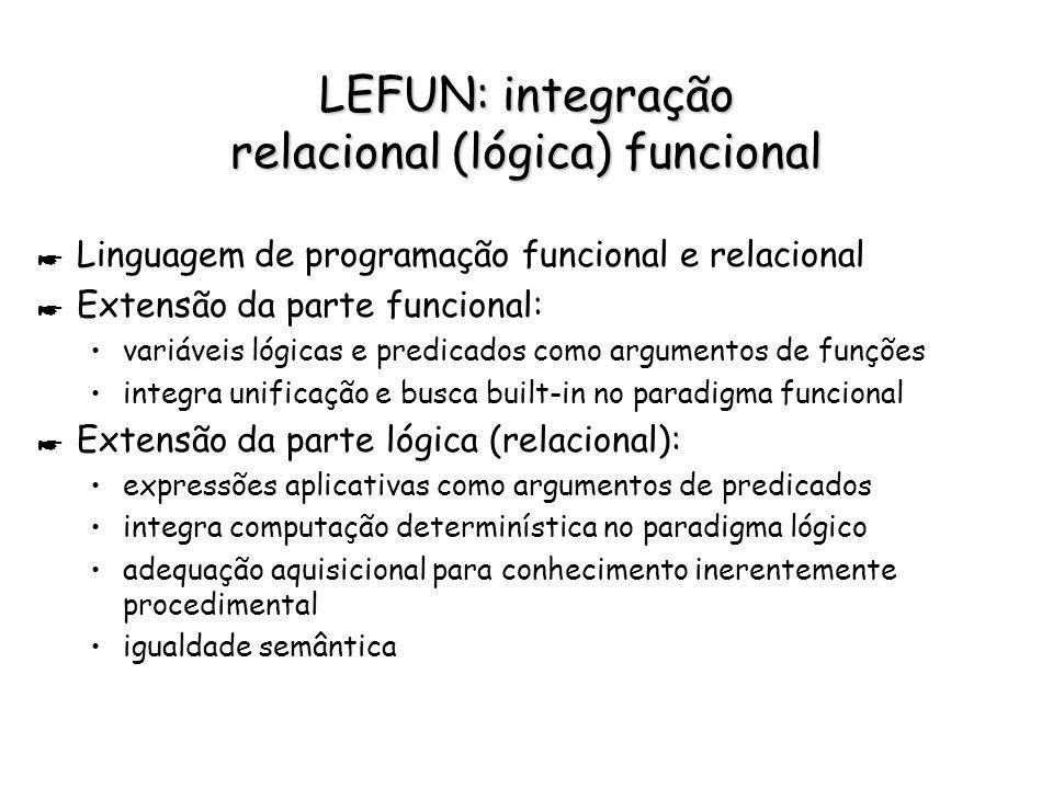 LEFUN: integração relacional (lógica) funcional * Linguagem de programação funcional e relacional * Extensão da parte funcional: variáveis lógicas e p