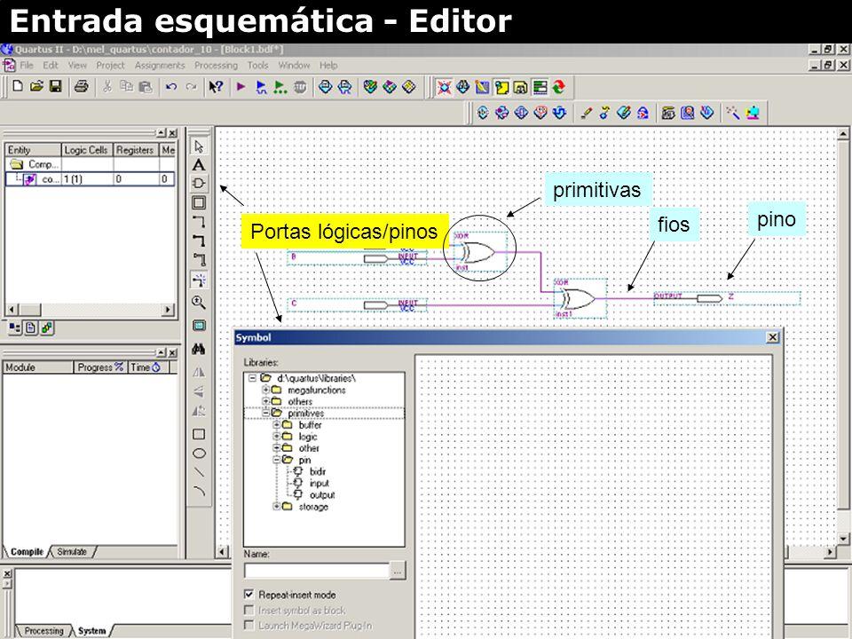 Portas lógicas/pinos (E/S) Fios e barramentos zoom Full screen on/off texto Entrada esquemática - Editor