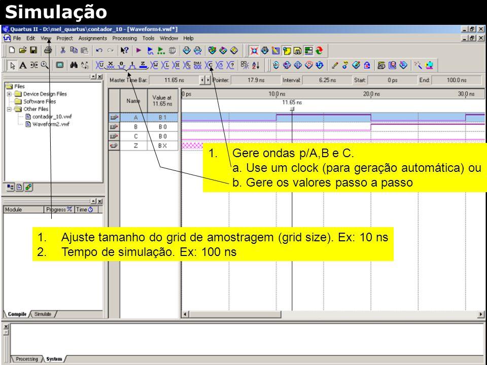 Full screen (on/off) Click sinal de entrada p/formar onda de simulação Simulação