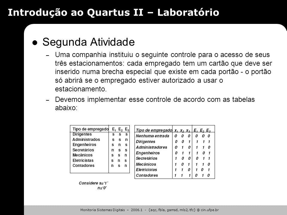 Monitoria Sistemas Digitais – 2006.1 - {aqc, fbla, gamsd, mls2, tfc} @ cin.ufpe.br Introdução ao Quartus II – Laboratório Primeira Atividade – Etapas