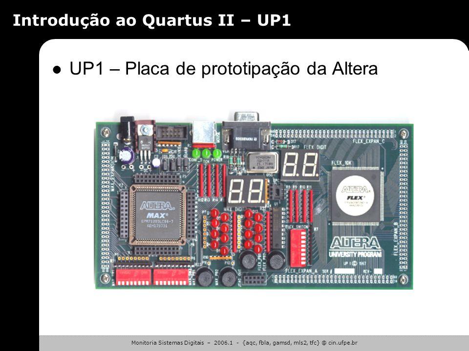 Monitoria Sistemas Digitais – 2006.1 - {aqc, fbla, gamsd, mls2, tfc} @ cin.ufpe.br Introdução ao Quartus II – Laboratório Segunda Atividade – Etapas d
