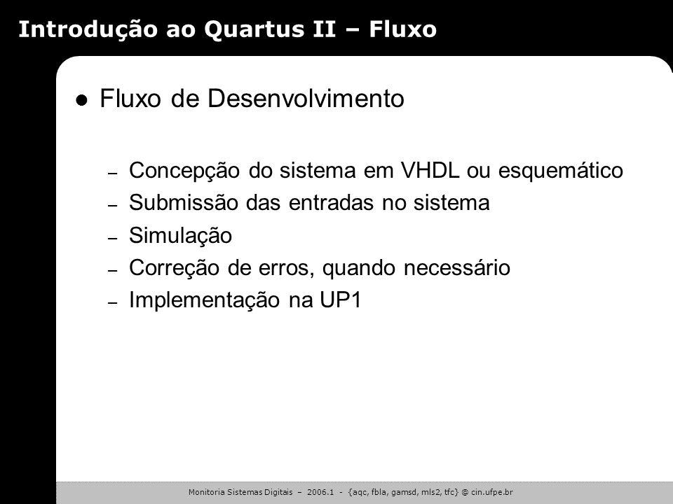Monitoria Sistemas Digitais – 2006.1 - {aqc, fbla, gamsd, mls2, tfc} @ cin.ufpe.br Introdução ao Quartus II – Tipos de Arquivos