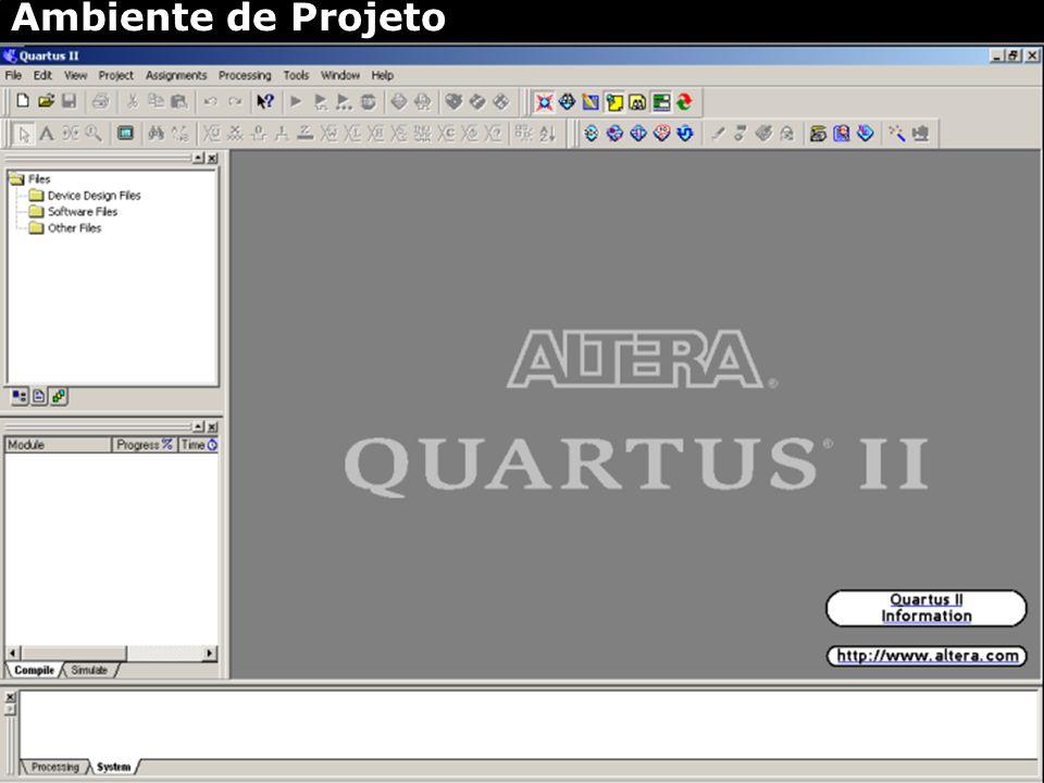 Monitoria Sistemas Digitais – 2006.1 - {aqc, fbla, gamsd, mls2, tfc} @ cin.ufpe.br Introdução ao Quartus II – Ambiente Ambiente de Projeto – Criar nov