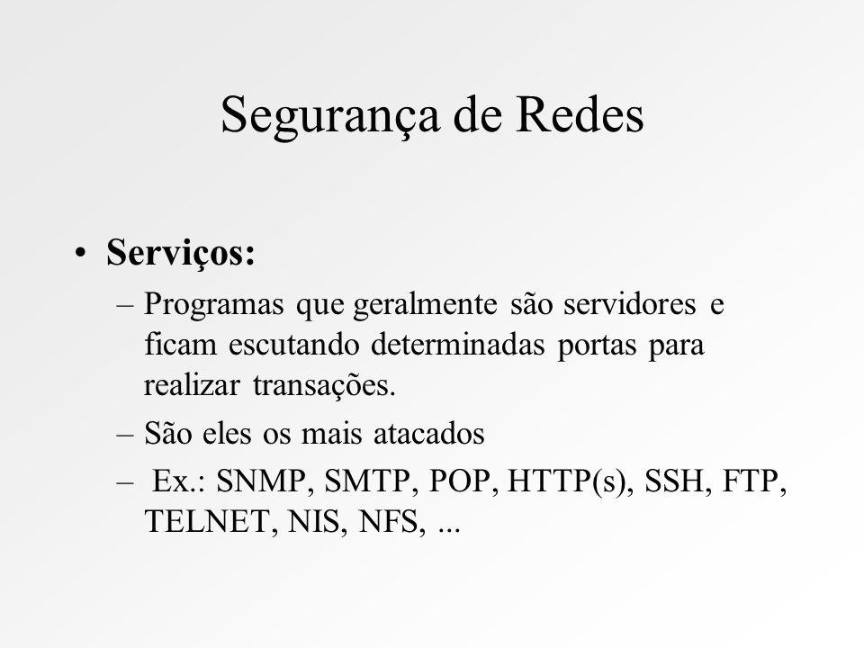 Segurança de Redes Sistemas Operacionais –onde os serviço rodam –Ex.: Linux, SCO, Solaris, RuWindow$, NT, AIX, Digital,...