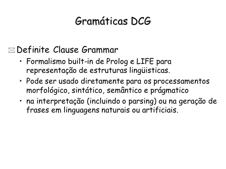 Gramáticas DCG * Definite Clause Grammar Formalismo built-in de Prolog e LIFE para representação de estruturas lingüisticas. Pode ser usado diretament
