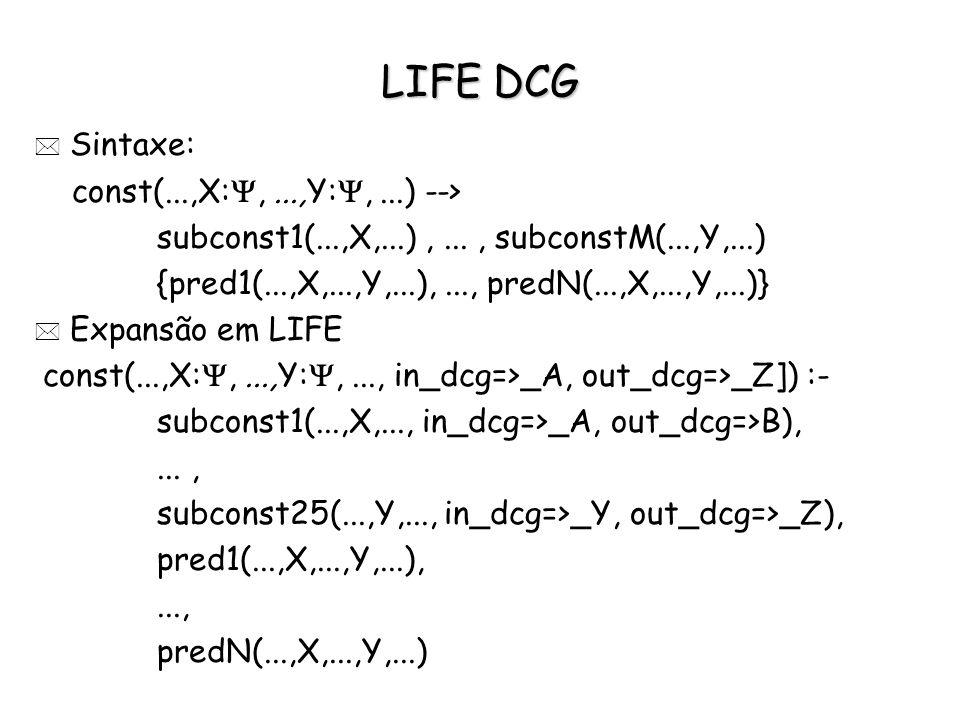 LIFE DCG * Sintaxe: const(...,X:,...,Y:,...) --> subconst1(...,X,...),..., subconstM(...,Y,...) {pred1(...,X,...,Y,...),..., predN(...,X,...,Y,...)} *