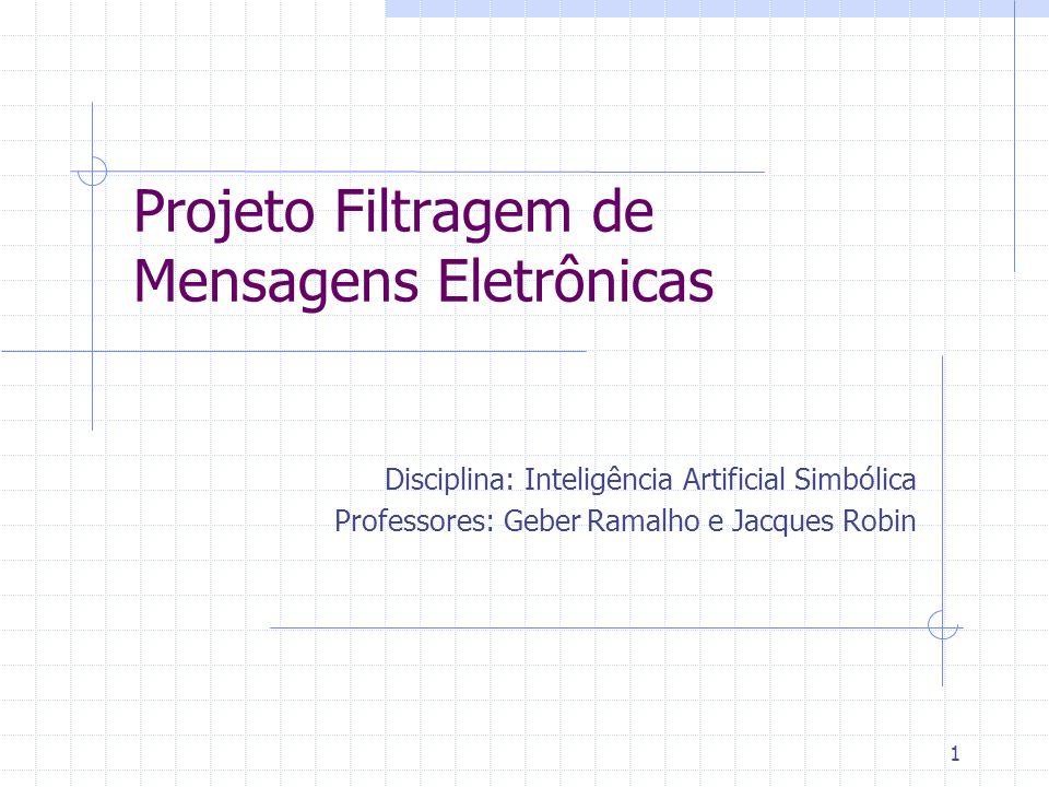 1 Projeto Filtragem de Mensagens Eletrônicas Disciplina: Inteligência Artificial Simbólica Professores: Geber Ramalho e Jacques Robin